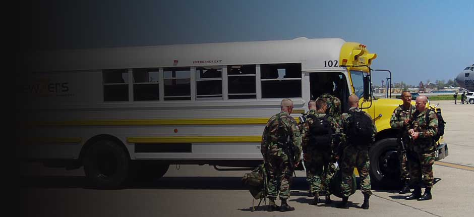 Military and Civilian Shuttle Bus Transports