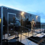 Moblie Shower Trailers Being Used at Military Training Base Camp
